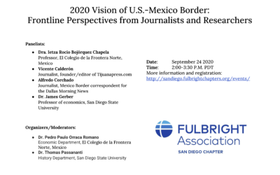 09-24-2020: 2020 Vision of U.S.-Mexico Border: Frontline Perspectives from Journalists and Researchers